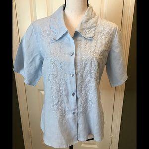 100% Linen light blue embroidered shirt, M